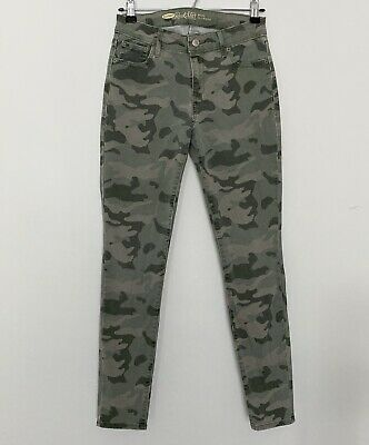Women's Old Navy Rock Star Mid Rise Skinny Jeans Pants Green Camo 6R