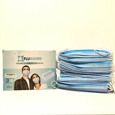 100 Pack Disposable Face Mask Surgical Virus Flu Earloop 99% Usa Seller In Stock