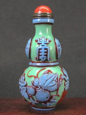 Chinese Cricket Gourd Carved Peking Overlay Glass Snuff Bottle