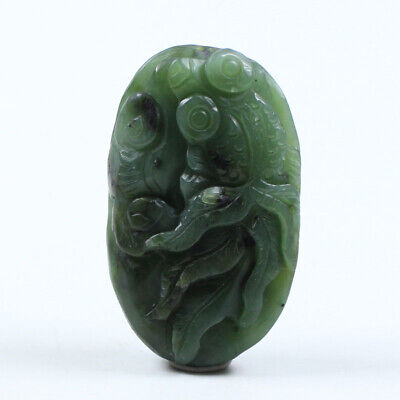 Certified Natural Grade Green Hetian Jade Necklace Pendant Goldfish  j1069
