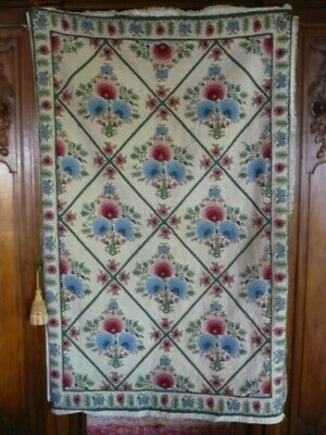 Antique /Vintage Hand Made French Wool Needlepoint Tapestry Hanging Rug