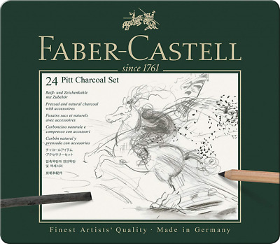 Faber-Castell Pitt Charcoal Professional Quality 24-Piece Set of Natural Drawing