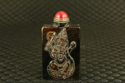 Chinese old yak horn Buddha elephant Statue snuff bottle gift collectable