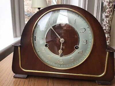 Vintage Smith Art Deco Style 1950's Westminster Chime Oak Mantel Clock (GWO)