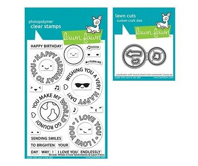 Lawn Fawn Clear Stamp /& Die Combo ~ REVEAL WHEEL CIRCLE SENTIMENTS /& TEMPLATE