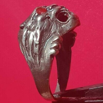 Roman Ancient Artifact silver Gladiator Ring With Lion