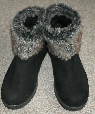 Evans Black Suede Ankle Boots in Size 8 EEE Extra Wide Fit. Fur Trim.  VGC