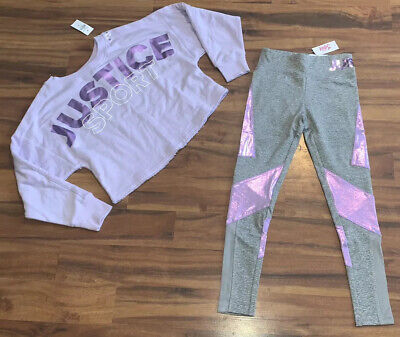 Lot Girls Size 10 Justice Outfit Set Purple Logo Crop Sweatshirt Top & Leggings