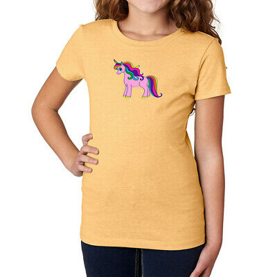 Pink Unicorn with Rainbow hair Girls Poly-Cotton T-shirt