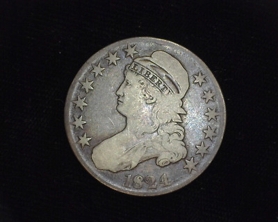 HS&C: 1824 Normal Capped Bust Half Dollar F - US Coin