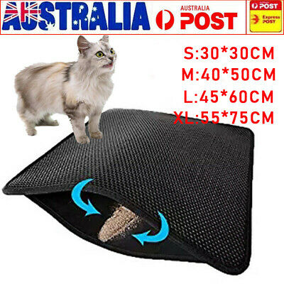 Cat Litter Trapping Mat Double Layer Honeycomb Design Foldable Tray Trap Pad AU.