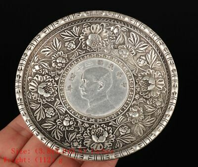 Unique China Silver-Plated Copper Decorative Plate Carving Pattern Sun Yat-Sen