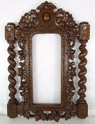 Antique French Hand Carved Oak Wood Openwork Panel - Black Forest Frame Mirror