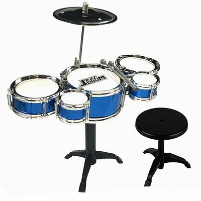 Kids Drum Kit Fun Play Set Drums Musical Toy Instrument Stool for Gifts Blue
