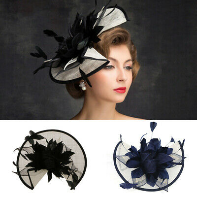 Ascot Hair Band Sinamay Flower Feather Alice Headband Hat Fascinator Race Royal