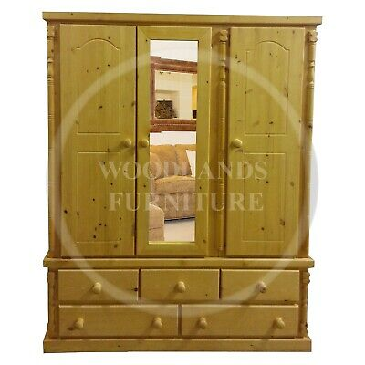 Handmade Solid Pine Diana 5 Drawer Triple Mirrored In Antique Wax, (Assembled)