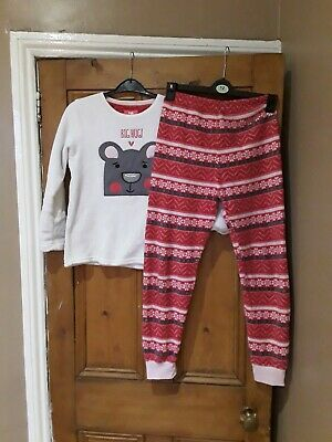 Girls Primark  Pink & White Pyjamas Age 10- 11 Years
