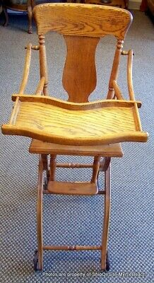 Antique Oak Convertible High Chair/Stroller W/Caned Seat & Tray  *LOCAL PICKUP*