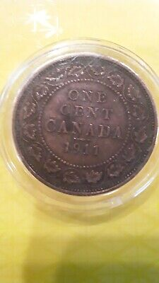 1911 Canada Canadian One 1 Cent King George V Coin