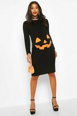 Boohoo Maternity black Pumpkin Halloween Bodycon Dress size 8 UK