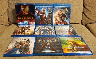 Marvel Movies Blu Ray lot Iron Man Captain America Spider-Man Thor Guardians