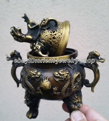 classical old Bronze Signed lucky dragon Statue incense burner Censer 15cm