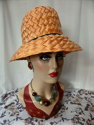 Vintage Retro 1960's Gold Yellow straw hat thin leather band Excellent