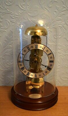 c 1984 Hermle Glass Domed Skeleton Clock 14 Day Mechanical / Wind Up