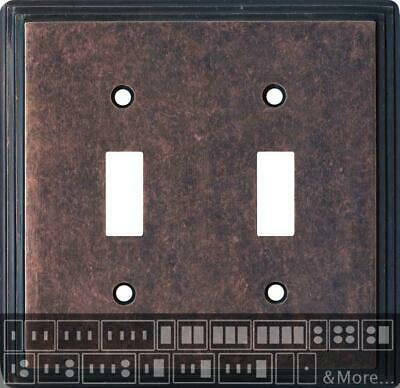 Art Deco Step Mottled Antique Copper  Switch Plates, Wall Plates & Outlet Covers