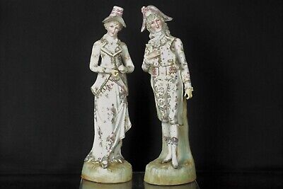 Beautiful Pair of Large Antique 19thC French Bisque Gilt Porcelain Figurines