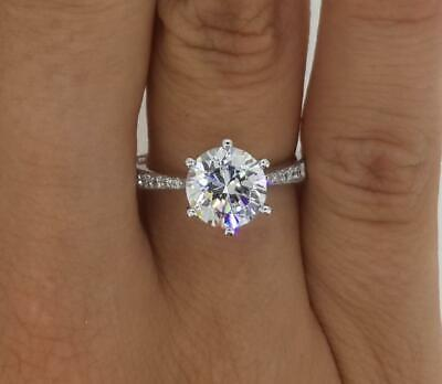 1.25 Ct Pave 6 Prong Round Cut Diamond Engagement Ring I1 H White Gold 14k