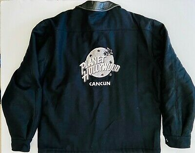 Men's 90's Planet Hollywood Cancun XL Black Wool & Leather Jacket