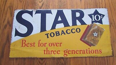 antique STAR TOBACCO 10¢ SIGN embossed tin advertising - Best over 3 Generations
