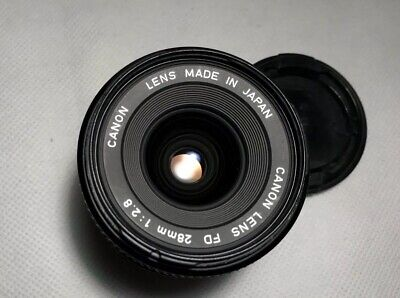 Canon FD 28mm 1:2.8 2.8/28 F/2.8 VTG Wide Angle Prime Lens With Caps EXC+