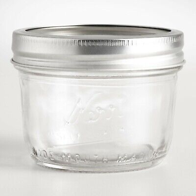 Kerr Wide Mouth Half-Pint 8 Oz. Glass Mason Jars with Lids and Bands 12Count USA