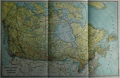 Antique Post-WWI 1923 World Atlas Map The Dominion Of Canada & Newfoundland L@@K