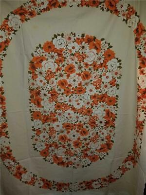 Vintage Shabby Chic Farmhouse Cotton Tablecloth White Orange Olive Floral 64X52