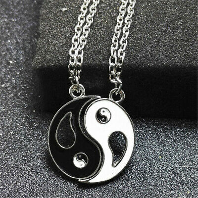 Friends Chain Enamel Black And White Yin Yang Pendant Couple Necklaces Tai Chi