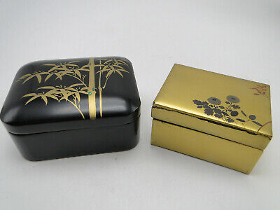 2 Old Small Asian Painted Wood Boxes Oriental Motif