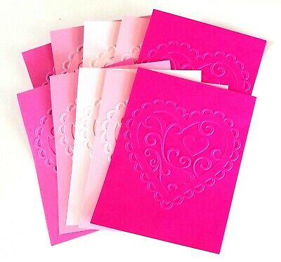 """EMBOSSING CARD FRONTS SET 4 """"Love My Heart"""" SHEETS WHITE CARDSTOCK CARD MAKING"""