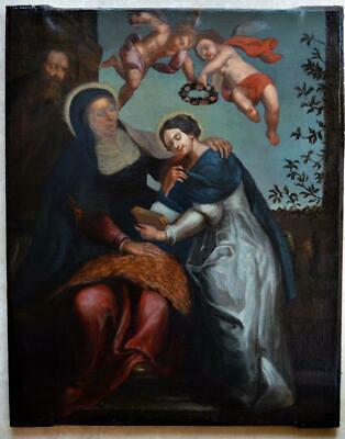 BEAUTIFUL LARGE ANTIQUE 18th CENTURY RELIGIOUS Old Master Baroque OIL PAINTING