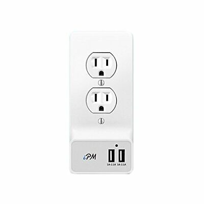USB Smart Wall Plate With 2 USB Ports - Round