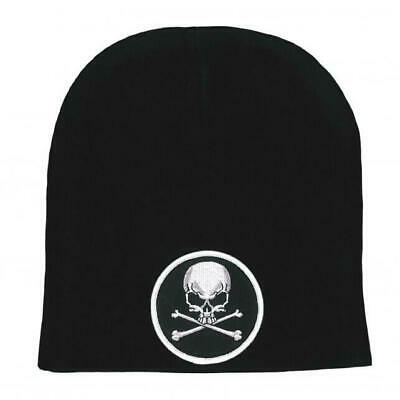 Embroidered Skull Crossbones Motorcycle Black Stocking Cap Beanie Knit Shorty