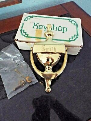 "VINTAGE 1980's SOLID BRASS DOOR KNOCKER ENGRAVED ""SMITH"""
