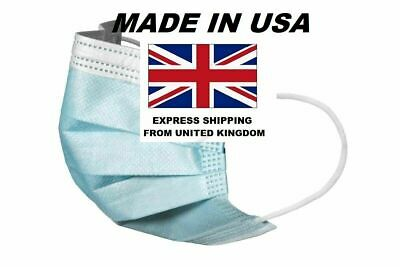 Disposable Surgical Face Mask For Virus Flu Protection W/ Elastic Ear Loop 3 Ply