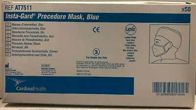 Cardinal AT7511 Insta-Gard Procedure Mask Box of 50 EXP 01/25 Blue NEW