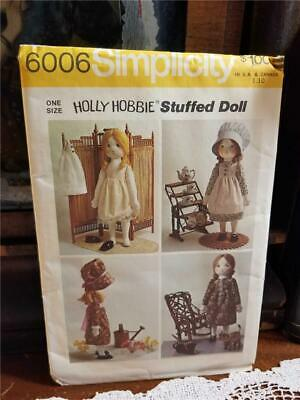 Vtg 1973 Simplicity 6006 Holly Hobbie Stuffed Doll Sewing Craft Pattern Uncut