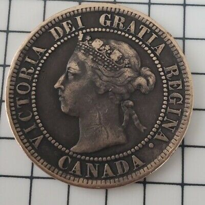 1899 CANADA 1C, Victoria Large One Cent, Scarce Early Canadian Coin
