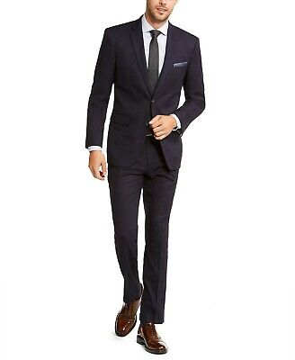 Perry Ellis Men's Slim-Fit Stretch Plaid 2-Piece Suit Blue 36L 30x34 NEW $495