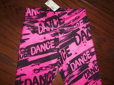 """Nwt Justice Blk/Pink """"Dance"""" Graphic Active Leggings: Size: 8"""